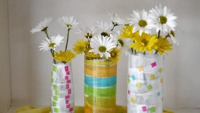 Create colorful containers for springtime bouquets