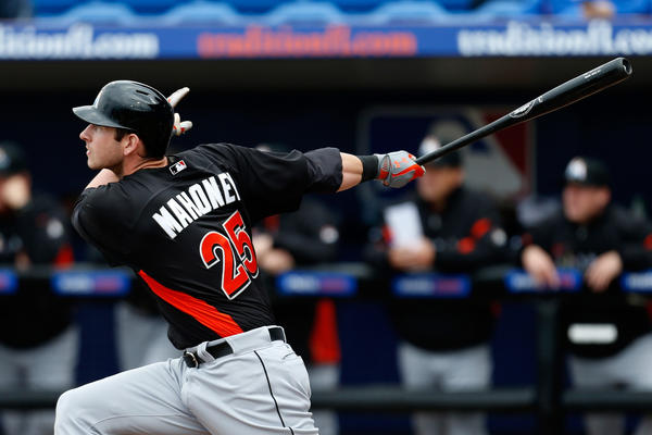 PORT ST. LUCIE, FL - MARCH 02: Joe Mahoney #25 of the Miami Marlins hits a home run in the 4th inning against the New York Mets at Tradition Field on March 2, 2013 in Port St. Lucie, Florida. (Photo by Chris Trotman/Getty Images) ORG XMIT: 161951895