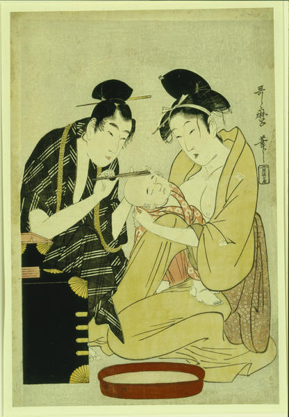"Photo provided. ""Father Shaving Head of Infant Son"" from 1798 by Kitagawa Utamaro (1754-1806) is one of the prints that will be featured in the exhibit ""The Floating World: Ukiyo-e Prints From the Lauren Rogers Museum of Art"" from March 22 to June 2, 2013, at the Krasl Art Center in St. Joseph."