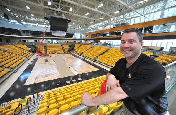 Towson men's basketball coach Pat Skerry is seen inside the new $760 million Tiger Arena at Towson University.