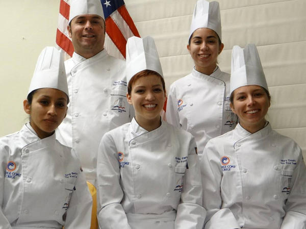 From top left, Vince Terusa, Lauren Lopez, Alma Benitez, Emilie Damgaard and Mary Conaty are Orange Coast Colleges Hot Food Team that will compete for culinary honors in Idaho this weekend.