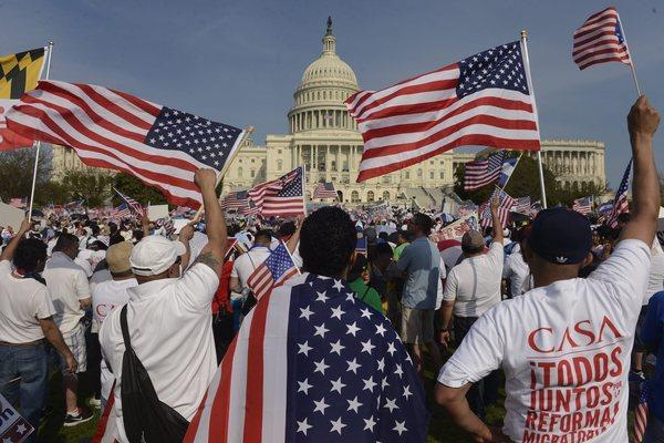 People gathered Wednesday outside the Capitol in Washington to show their support for comprehensive immigration reform.