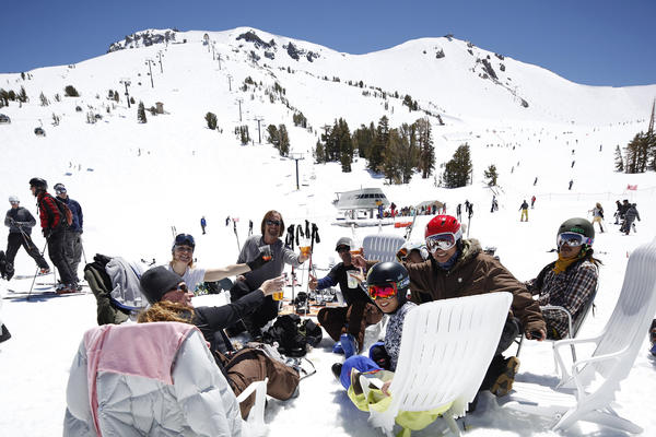 Spring skiing on Mammoth Mountain means parties, music and on-hill competitions.
