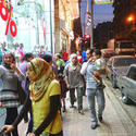 The streets of modern Cairo are busy with window shoppers.