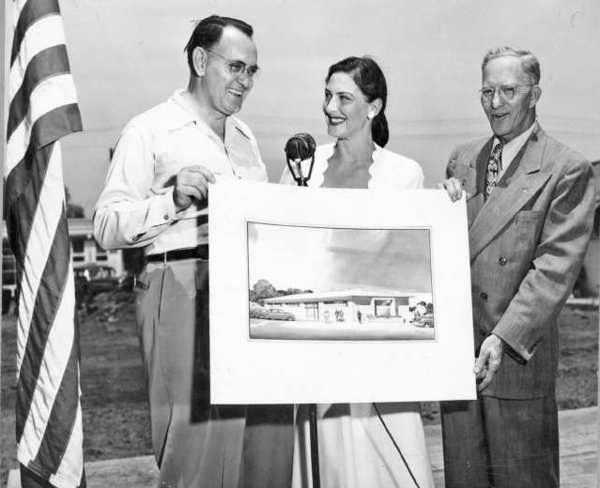 Pat Mann, center, was very instrumental in raising funds for a new clubhouse for the Foothill Service Club for the Blind which opened in 1950 on Verdugo Road. On the left, a member of the Eagle Rock Lions Club, identified only as Melton. At the right, Claude Webber, from the Glendale Lions Club. Photo late 1940s.
