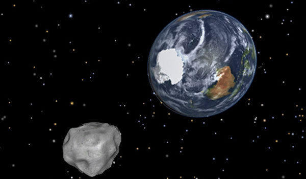 A NASA graphic depicts an asteroid that passed about 17,200 miles above Earth on Feb. 15.