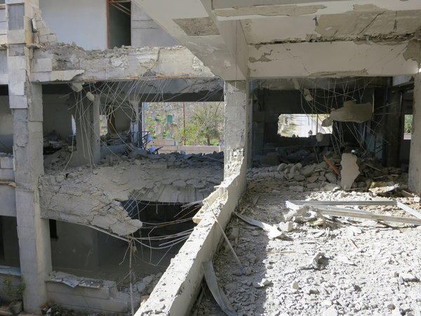 A demolished school in Syria's Aleppo province is pictured in November. It was destroyed by an airstrike.