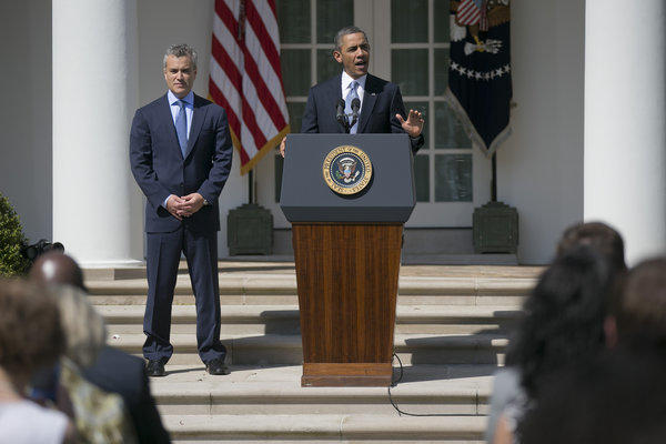 President Obama, accompanied by Jeffrey Zients, acting director of the Office of Management and Budget, talks about his budget plan at the White House.