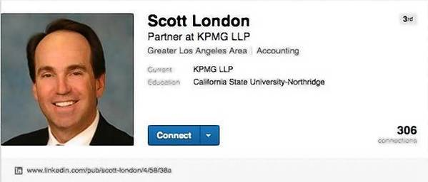 "Scott London, shown in a photo on his LinkedIn page, worked at accounting firm KPMG almost 30 years. He's under investigation in an insider-trading case. ""His life is ruined,"" attorney Harland Braun says."