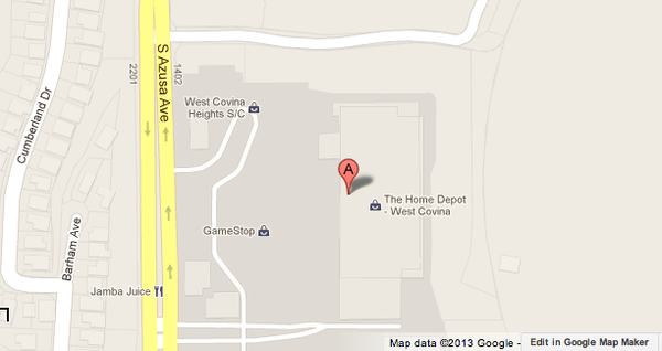 Map shows location where a man sawed his arms at a West Covina Home Depot store.
