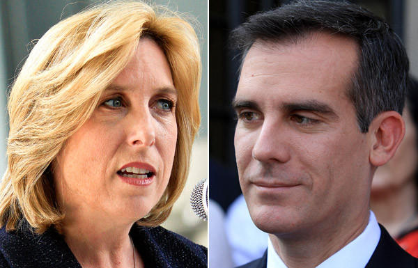 Wendy Greuel and Eric Garcetti will meet in their first debate as finalists for Los Angeles mayor on Thursday night.