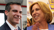 Candidates Eric Garcetti and Wendy Greuel prepared for a Thursday night debate — their first since the two emerged as finalists to be the next mayor of Los Angeles — by renewing their sniping over who would be most beholden to public employee unions.