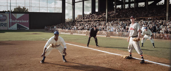 "Chadwick Boseman stars as Jackie Robinson in the Warner Brothers film, ""42."" Photo courtesy of Warner Bros. Pictures"