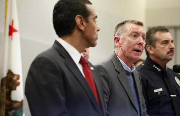 L.A. schools Supt. John Deasy, right, appears with L.A. Mayor Antonio Villaraigosa at a downtown news conference on school safety.