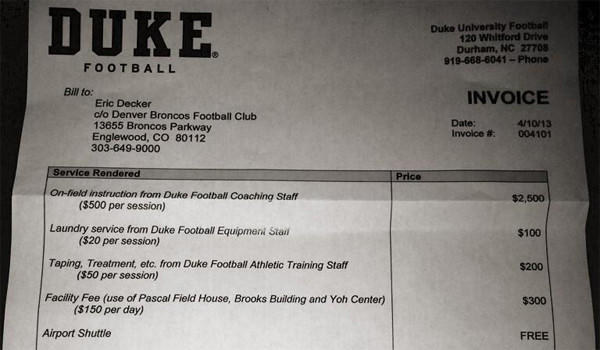 "Eric Decker posted on Twitter an image of a ""bill"" from Duke he received after he joined workouts with Denver Broncos quarterback Peyton Manning on his Twitter account on Wednesday."