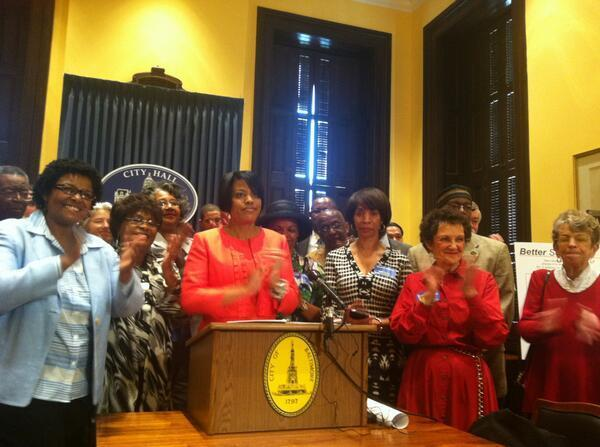 Mayor Stephanie Rawlings-Blake and Baltimore's elected officials celebrate passage of the $1 billion school construction bill.