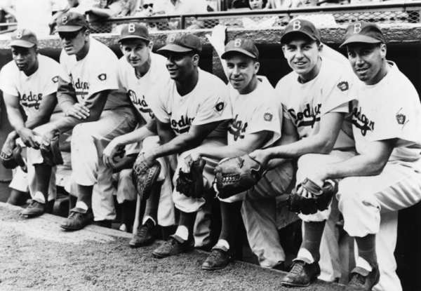 From left, Jackie Robinson, Don Newcombe, Preacher Roe, Roy Campanella, Pee Wee Reese, Gil Hodges and Duke Snider of the Brooklyn Dodgers.