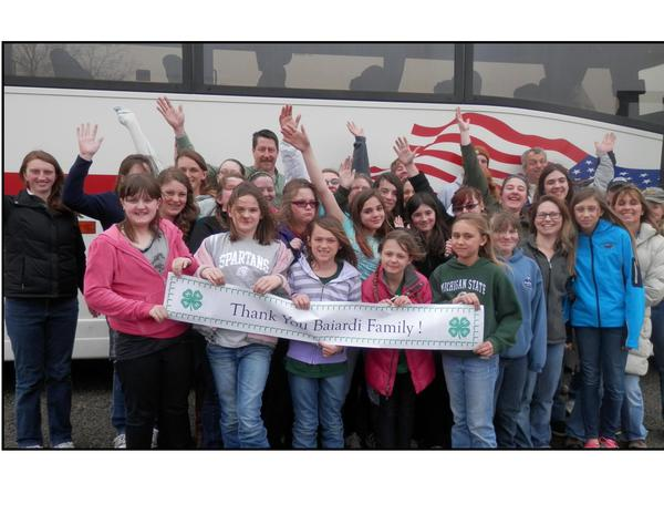 Area 4-H members and parents board a bus to attend the recent Vet-A-Visit open house at Michigan State University College of Veterinary Medicine in East Lansing. The chartered transportation was provided by the Baiardi family.