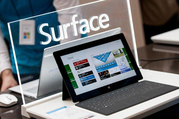 Microsoft may roll out a smaller version of its Surface tablet. Above, the current, 10.6-inch version.