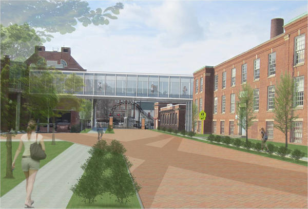 This is a rendering, looking toward Main Street on School Street, of an enclosed walkway connecting the now vacant Cheney Building on the right to Bennet Academy. Town and school officials are considering a new 5th/6th grade academy.