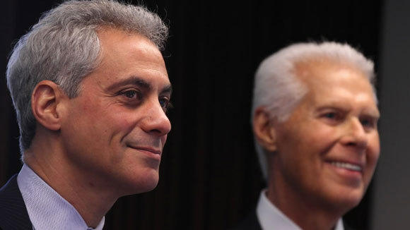 Mayor Rahm Emanuel and Chamber of Commerce CEO Jerry Roper are photographed in January, before the announcement that Clayco would move its headquarters to downtown Chicago.