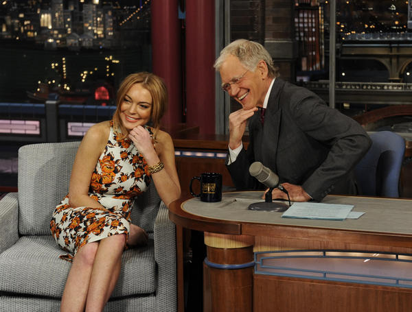 "Lindsay Lohan talks to David Letterman about her upcoming trip to rehab during the ""Late Show with David Letterman."""