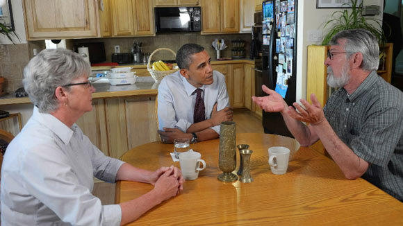President Barack Obama meets with Val and Paul Keller, who took advantage of the Home Affordable Refinance Program, last year in Reno, Nev.