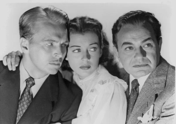 "John Lund, Gail Russell and Edward G. Robinson star in in the 1948 noir classic ""Night Has a Thousand Eyes."""