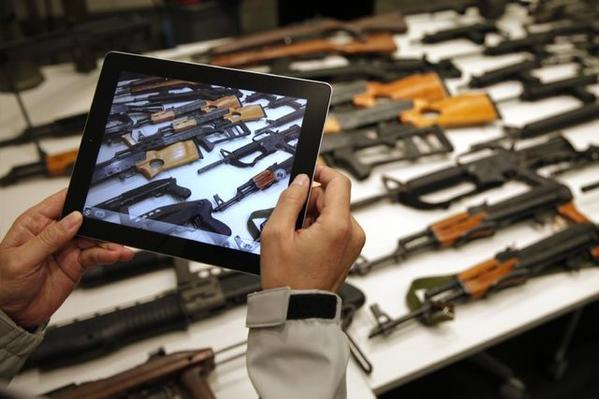 Guns are displayed by the Los Angeles Sheriff's Department.