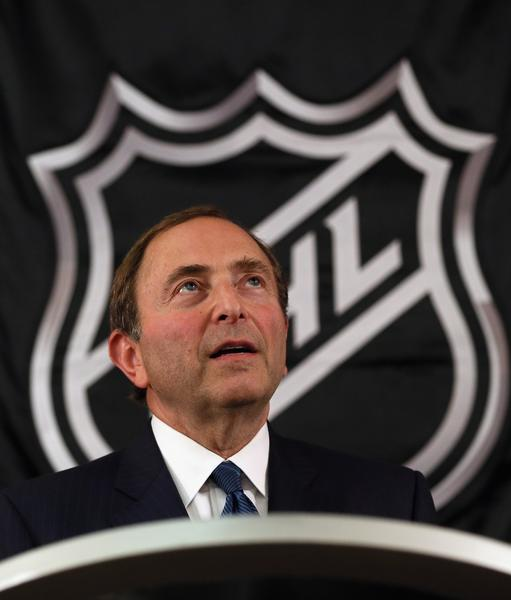 NHL Commissioner Gary Bettman says the league fully supports gay athletes and efforts to eliminate gay slurs from sports.