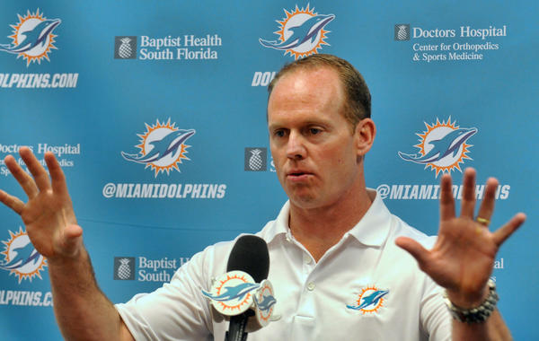 Miami Dolphins GM Jeff Ireland talks about the up coming NFL Draft during a press conference at Dolphins Training Camp in Davie, Fl.