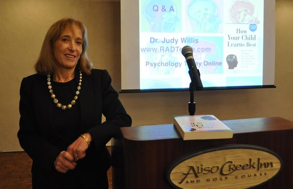 Dr. Judy Willis speaks at the recent PTA Coffee Break meeting.
