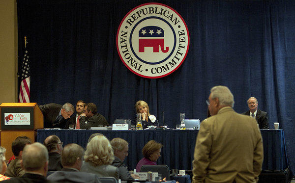 Ohio Committeeman Bob Bennett waits at the podium to speak during the Standing Committee on Rules meeting at the 2013 RNC spring gathering in Hollywood.
