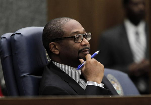 Former Cook County Board President Todd Stroger, seen here in December 2010, pitched himself today as a replacement for convicted former County Commissioner William Beavers.
