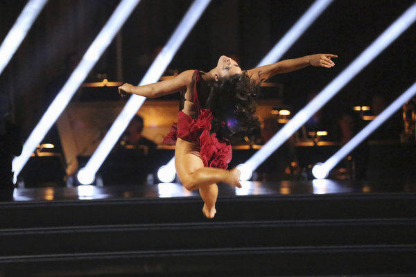 "Aly Raisman competes during Week 4 of ""Dancing With the Stars."""