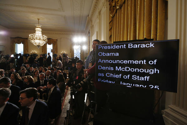 A teleprompter used President Obama lists the start of his speech announcing veteran foreign policy aide Denis McDonough as his next White House chief of staff.