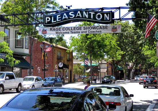 The tree-lined Main Street in downtown Pleasanton harks back to another era.