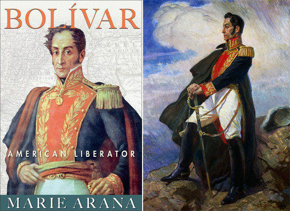 The cover of 'Bolívar: American Liberator' and a painting of Símon Bolívar by Daniel Hernandez at the Museo De Arte in Lima, Peru.