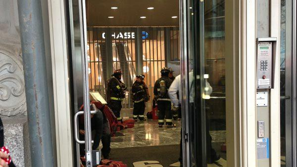 Firefighters were called to the Chase Bank branch on Michigan Avenue today.
