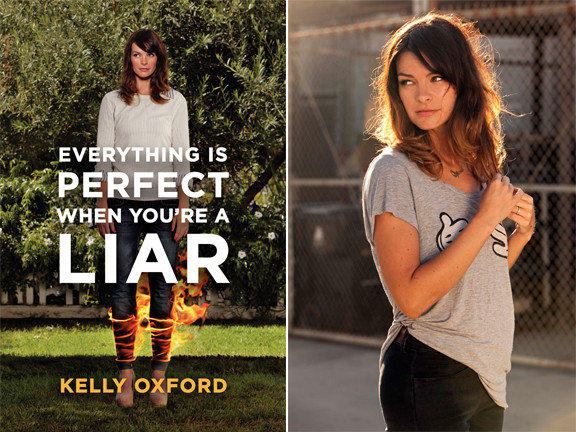 The cover of 'Everything is Perfect When You're a Liar' and author Kelly Oxford.
