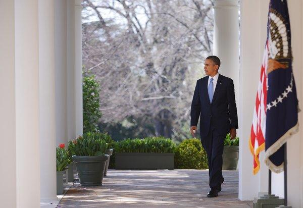 President Obama makes his way to the White House Rose Garden to speak on the budget.