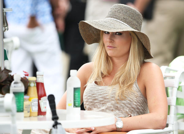 Skier Lindsey Vonn attends the first round of the 2013 Masters Tournament at Augusta National Golf Club on Thursday.