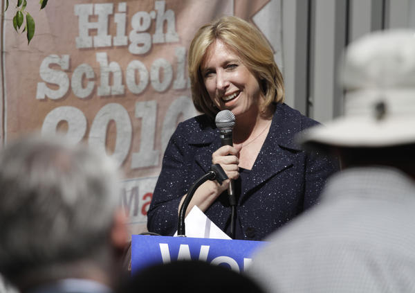 Los Angeles mayoral candidate Wendy Greuel speaks at Camino Nuevo Charter School in Los Angeles on Wednesday.