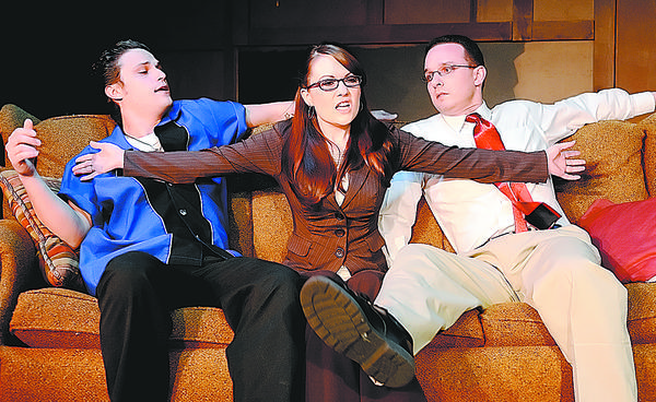 "Seth Thompson,left, Amie Tweit and Adam Blackstock rehearse a scene from ""The Church of Diminishing Marginal Returns"" at Washington Co. Playhouse"