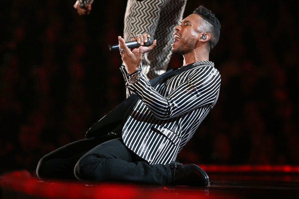 Miguel performs onstage during the Grammy Awards at Staples Center on Feb. 10, 2013 in Los Angeles.