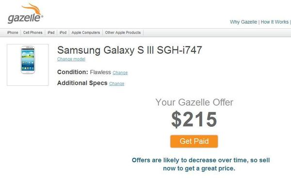 Gazelle.com is among several options for Galaxy S III owners looking to trade in.