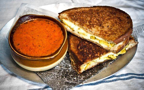 The Irish cheddar grilled cheese and tomato soup at Rock & Reilly's.