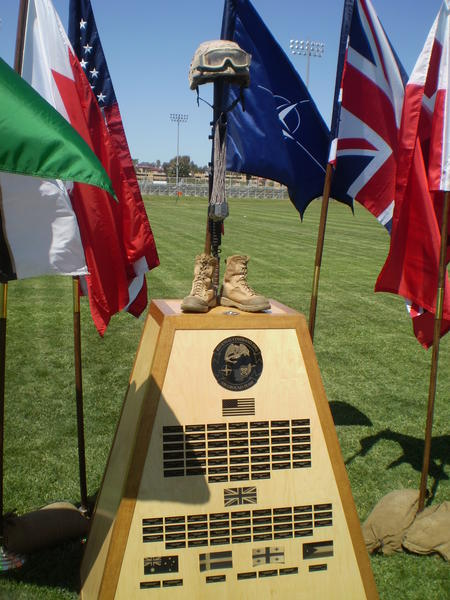 Memorial at Camp Pendleton for U.S. and coalition troops killed in the Helmand region from 2012-13.