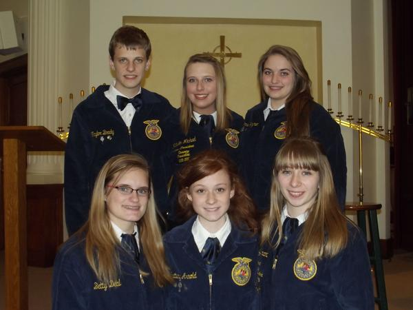 Meyersdale Area FFA Chapter won first place in parliamentary procedure during the Somerset County FFA Speech Contest held March 14 at Berlin Brethren Church. The Meyersdale members are from left, front: Betty Jo Deal, Brittany Arnold, Courtney Brant. Back row: Taylor Brady, Katelin Michael and Brianna Hoyman.