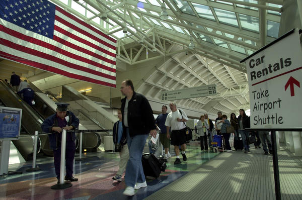 A 2003 photo of LA/Ontario International Airport, when it opened two new terminals, 265,000 square feet each. Since then, passenger numbers have dramatically declined.